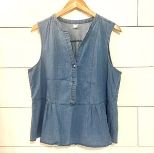 OLD NAVY Peplum Chambray Shirt Tank Top Size Large